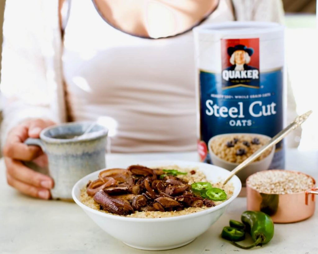 Savory Steel Cut Oats w/ Browned Mushrooms