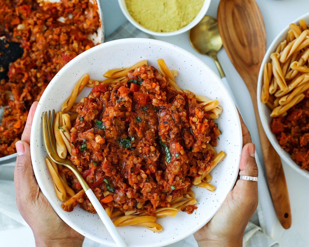Vegan Lentil Bolognese w/ Chickpea Casarecce