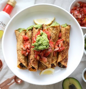 avocado black bean taquitos